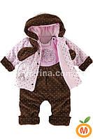 Комплект для девочки: курточка-плащик с полукомбинезоном