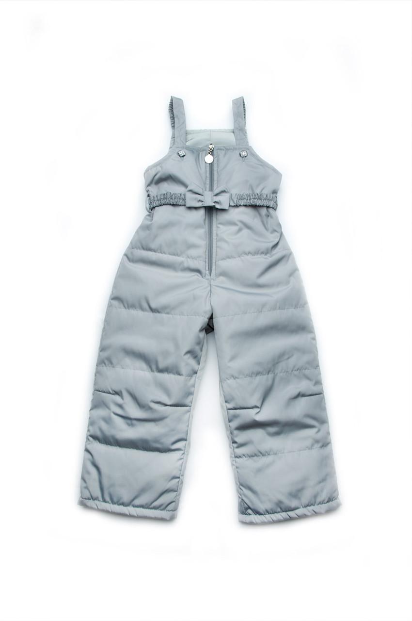 Детский демисезонный полукомбинезон для девочки (серый)