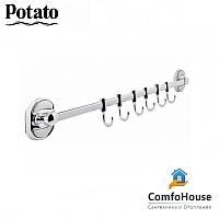 Полотенцедержатель с крючками POTATO P2914-6 (6 крючков)