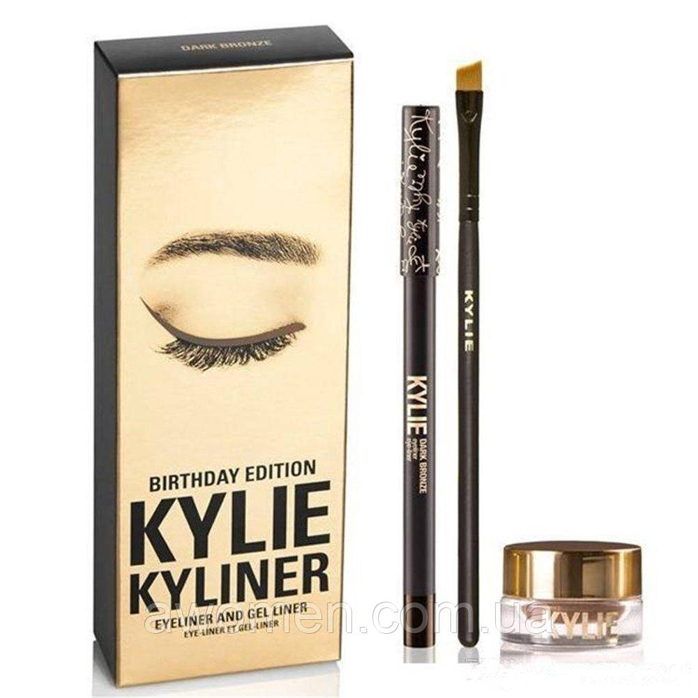 Гелевая подводка KYLIE JENNER + карандаш + кисть kylie cosmetics kyliner Kit (Dark Bronze)