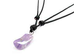 Кулон Аметист натуральный камень на кожаном шнурке