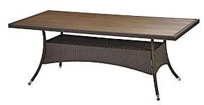 Большой садовый прямоугольный стол 200 см коричневый из стали и искусственного ротанга