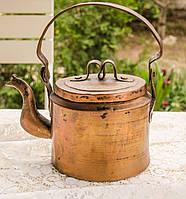 Антикварный медный чайник,  ручная работа, Германия, 2 литра, фото 1