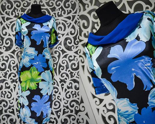 """Нежное женское платье """"Полированный стрейч-коттон"""" 50, 52, 54, 56 размер батал, фото 2"""