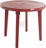 Садовый стол пластиковый красный круглый (для кафе и улиц)