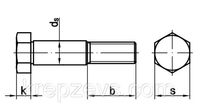 Схема и таблица с размерами болта DIN 609