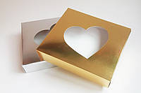 Коробка с окошком в форме сердца, золото/серебро, 220*190*50