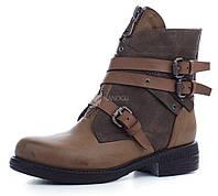 Ботинки женские завышенные с молниями West на каблуке, Хаки, 39