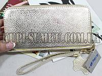 Яркий золотой кошелек из натуральной кожи на две молнии