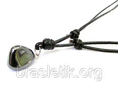 Кулон Гематит натуральный камень на кожаном шнурке