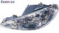 Фара Peugeot 206 98-06 левая (DEPO) электрич., прозрачный рассеиватель