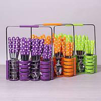Набор столовых приборов Kamille 24 пр. из нержавеющей стали с пластиковыми ручками и подставкой 5240