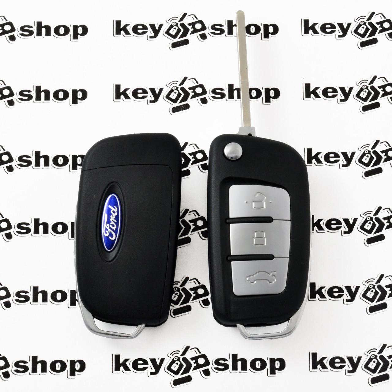 Корпус выкидного ключа для Ford (Форд), 3 ― кнопки, лезвие HU101, (под переделку)