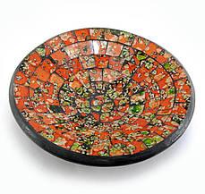 Блюдо терракотовое с оранжевой мозаикой (d-15 h-3 см)