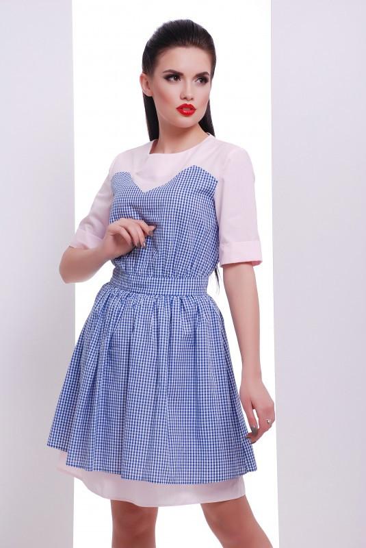 Платье Этно электрик с розовым