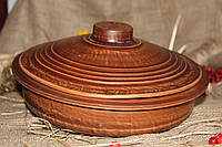 Сковородка с крышкой из красной глины 1,5л.