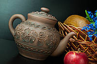 Чайник большой рисованный из красной глины
