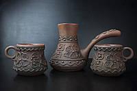 Турка маленькая рисованная + 2 чашки из красной глины
