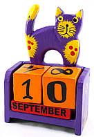 """Календарь настольный """"Кот"""" дерево  фиолетовый (14,5х10х5,5 см)"""