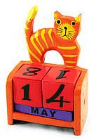 """Календарь настольный """"Кот"""" дерево оранжевый (14,5х10х5,5 см)"""