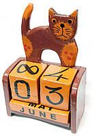 """Календарь настольный """"Кот"""" дерево коричневый (14,5х10х5,5 см)"""