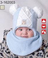 Комплект для мальчика шапка и снуд с исскуственным мехом 3-162003