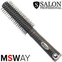 Salon Prof. Расческа брашинг 9802 BT (черная) средняя цельная пластик-зубья