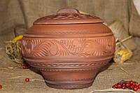 Казан с крышкой из красной глины