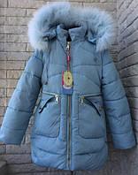 Красивая, детская зимняя  куртка на девочку с натуральным мехом  3 цвета на возраст 4,5,6,7,8,9 лет