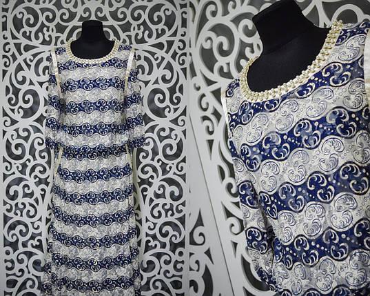 """Женское платье с россыпью жемчуга """"Стрейч сеточка на подкладке"""" 52 размер баталы, фото 2"""
