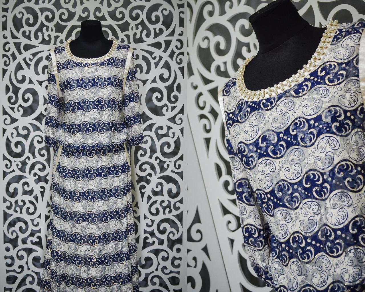 """Женское платье с россыпью жемчуга """"Стрейч сеточка на подкладке"""" 52 размер баталы"""