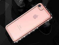 Силиконовый прозрачный чехол с розовыми камнями Сваровски для Iphone 7/8
