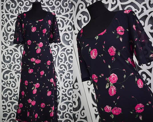 """Шикарное женское платье """"Креп-шифон"""" на подкладке, приталенного кроя 54, 56 размер баталы, фото 2"""