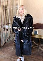 Пальто хутряне з нутрії. Кишені, манжети і обробка коміра з норки, довжина 100см, фото 1