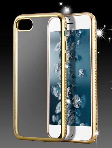 Чехол с золотым ободком и камнями Сваровски для Iphone 5/5S