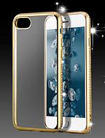 Чехол с золотым ободком и камнями Сваровски для Iphone 5/5S, фото 1