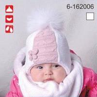Комплект для девочки шапка и снуд с натуральным мехом арт.6-162006
