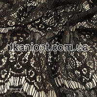 Ткань Гипюр реснички (черный)