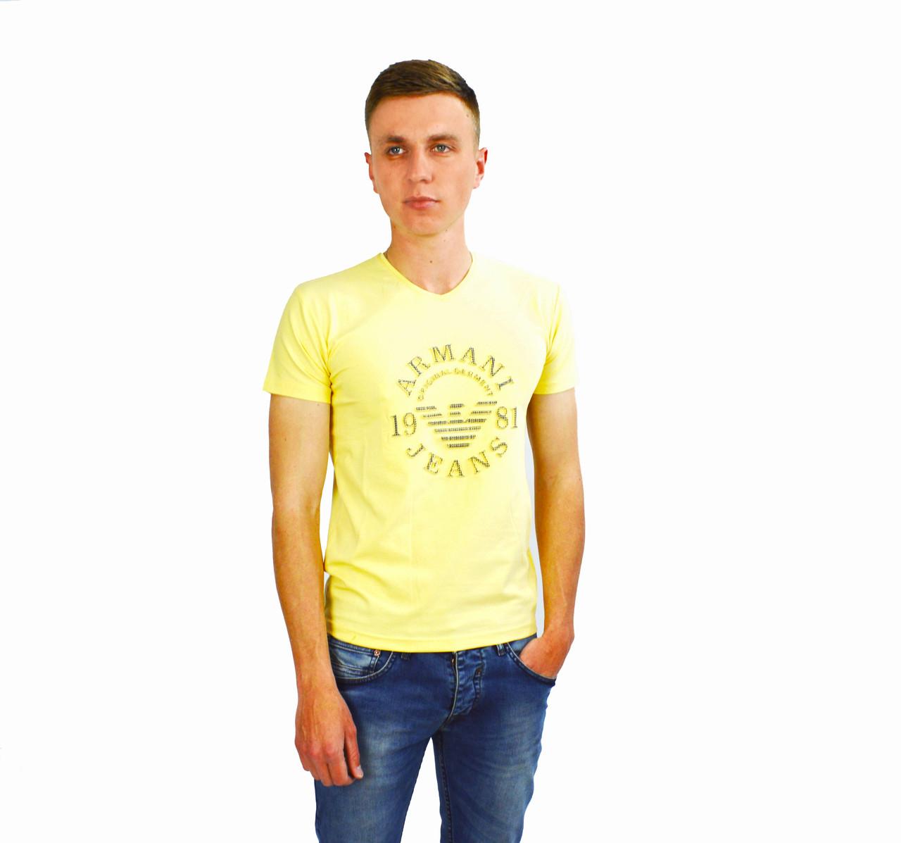 Желтая мужская футболка с логотипом ARMANI - JEANS на лето