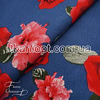 Ткань Коттон принт розы (синий фон)