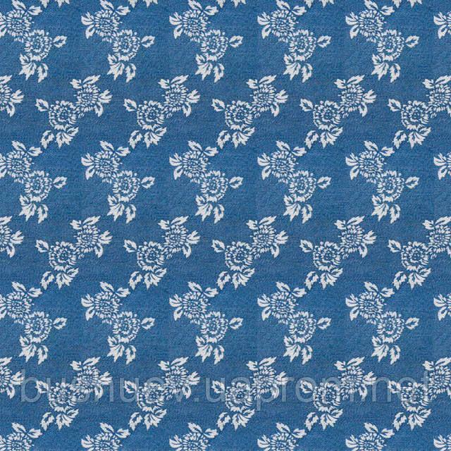 Ткань джинсовая набивная с цветочным рисунком