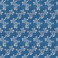 Ткань джинсовая набивная с цветочным рисунком, фото 1