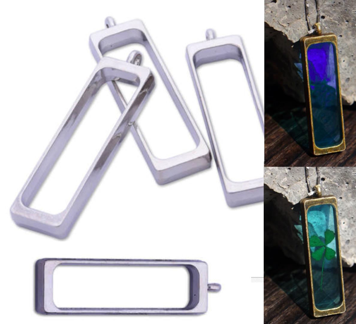 Подвеска длинная металл под заливку смолой, глубокая, цвет серебро