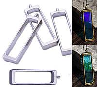 Подвеска длинная металл под заливку смолой, глубокая, цвет серебро, фото 1