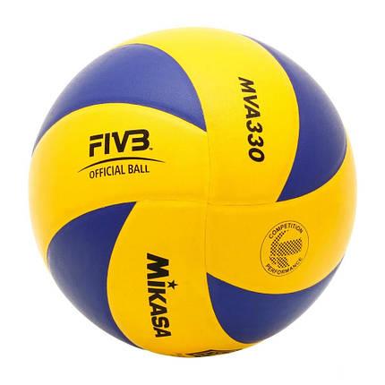 Мяч волейбольный Mikasa MVA330 Желто-синий (4907225880379), фото 2