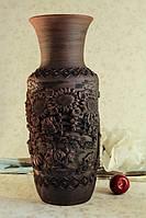 Большая глиняная ваза с лепкой
