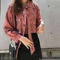 Женская рубашка Цветочный шифон