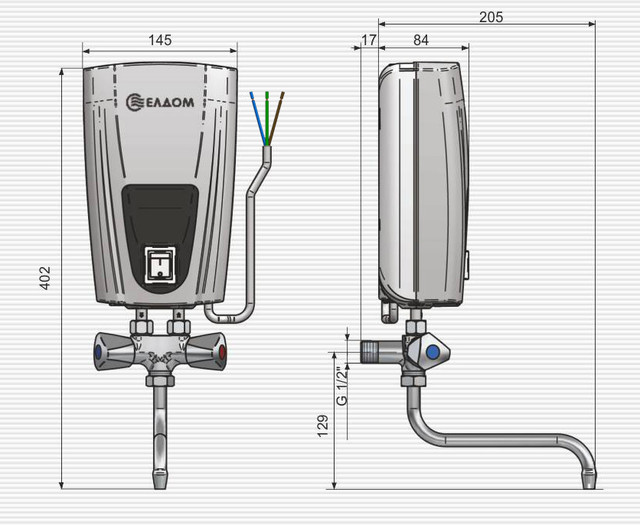 установка и размеры проточного водонагревателя Eldom 3,5 kw E41 кран