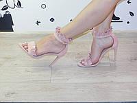 Женские босоножки классические на шпильке замшевые пудра