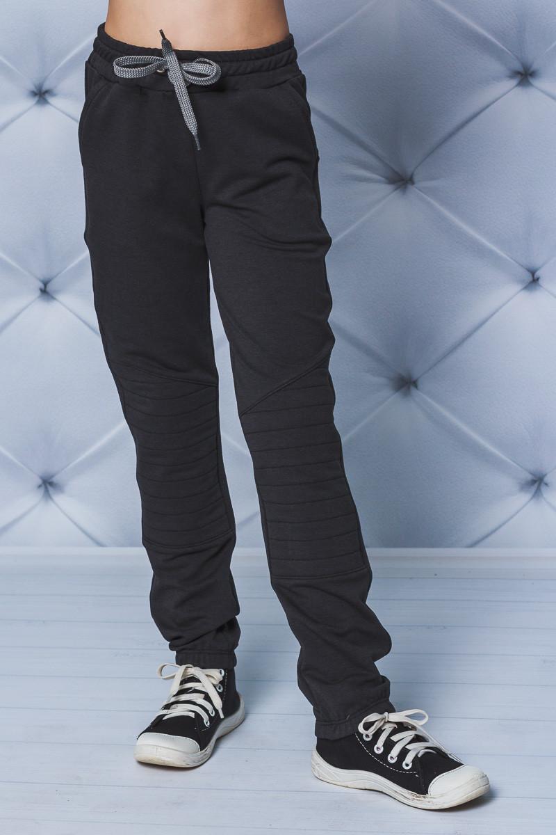 Спортивные детские штаны на резинке темно-серые